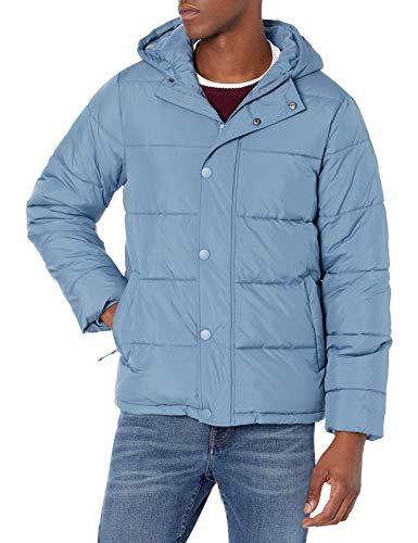 Amazon Essentials Men's Heavyweight Long-Sleeve Hooded Puffer Coat, Medium Blue, Large