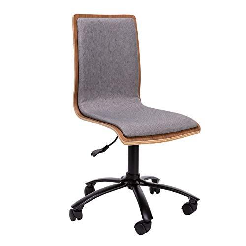 Pureday Drehstuhl Holz - Bürostuhl - Höhenverstellbar - Gepolsterte Sitzfläche - Braun Grau