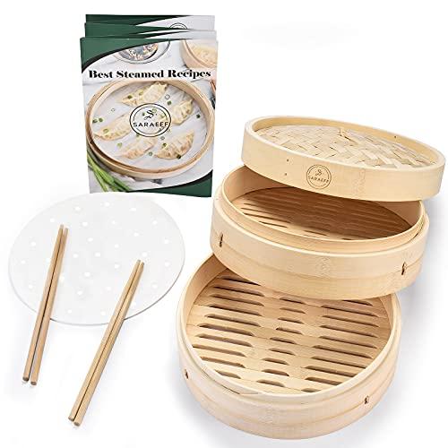 Handmade Natural Bamboo Steamer Basket 10 inch - Dumpling Steamer - Asian - Chinese Food - Bao Bun - Momo - Dim Sum Steamer - 10 Liners and 2 Chopsticks - Vegetable - Seafood Steamer Pot for Cooking