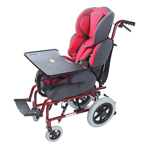 KLFD Silla de Ruedas de Aluminio para Niños, Asiento de Seguridad para Niños Discapacitados, Marco Plegable, con Frenos + Cinturón de Seguridad + Respaldo Ajustable + Cojín Grueso