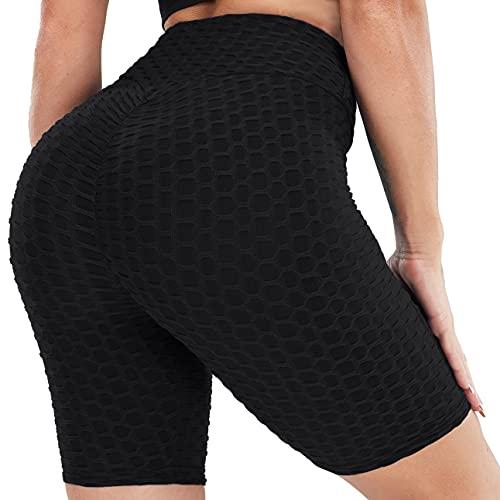 Fengbay Pantalones cortos de entrenamiento para mujer con cintura cruzada Scrunch Butt Leggings texturizados TikTok Legging Shorts