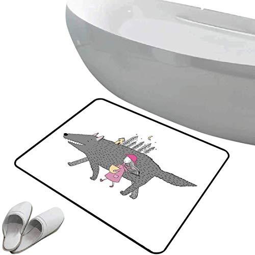 Alfombra de baño Antideslizante de Felpudo Fantasía Alfombrilla Goma Antideslizante Chica Vestida de Rosa Caminando con un Bosque de Lobo Gigante y una casita,Pink Gray Peach,Interior/Exterior/Puerta