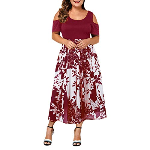 Buy Discount WEISUN Women Casual Dress Summer Plus Size O-Neck Dress Fall Solid Color Off-Shoulder S...