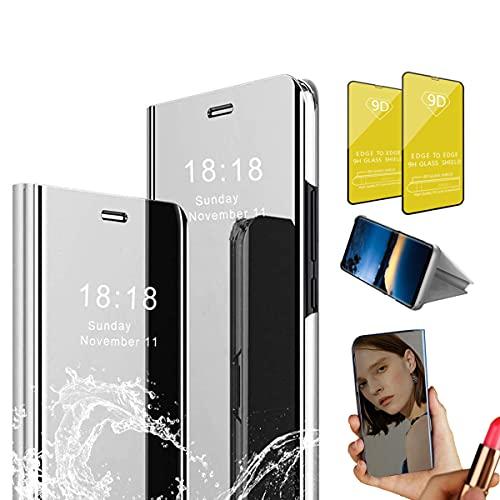 Jtailhne Compatible con Funda Huawei P8 Lite 2017, PU PC TranslúCido Flip Espejo Carcasa Ver Fecha/Hora, Despertar Inteligente, Plegable Soporte Case Gris+2X Cristal Templados