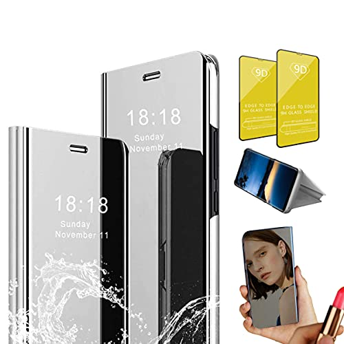 Jtailhne Compatible for Case Oppo Realme 5 Pro, Electroplate Makeup Mirror Translucent Smart Clear View Case Flip Stand Full Body Protective Cover Gray+2 Screen Protector