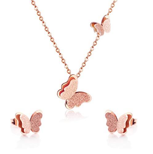 SALAN Collar Colgante Pendientes Mariposa Joyas Conjuntos para Mujeres Regalo Moda