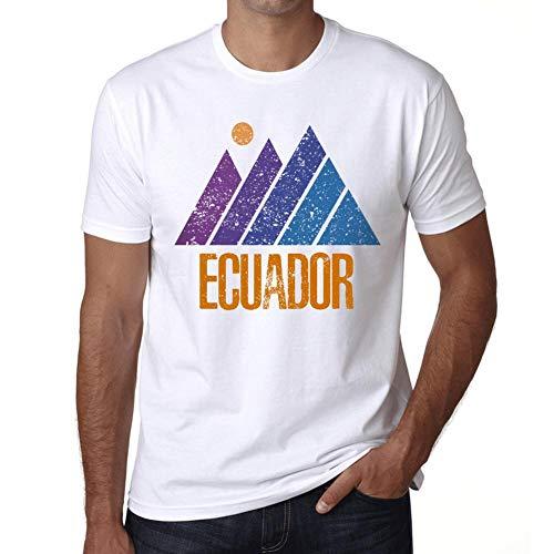 Hombre Camiseta Vintage T-Shirt Gráfico Mountain Ecuador Blanco