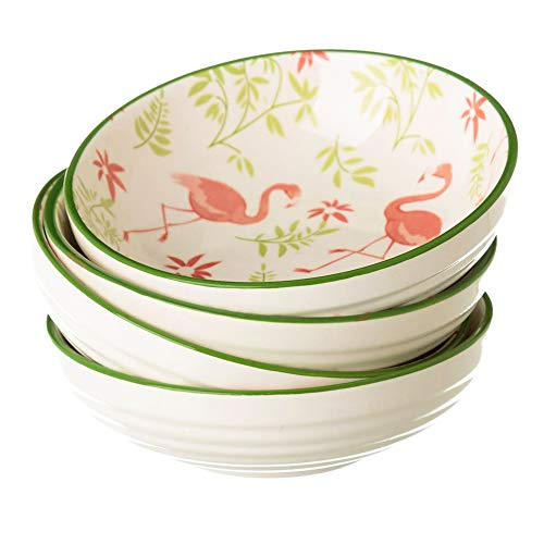BARCINO NATURALS Schüssel-Set mit 4 Keramik Snackschalen Kleine Vorspeisenschalen Saucen Desserts - Porzellan Schälchen für Müsli und Snacks mit Vintage Design Flamingo 12,60x12,60x3,90cm