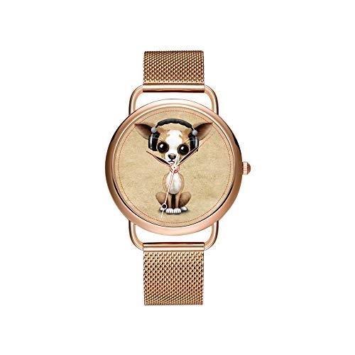 Frauen Uhren Marke Damen Mesh Gürtel ultradünne Uhr wasserdichte Uhr Quarzuhr Weihnachten Nette Chihuahua Welpen Dj Tragen Kopfhörer Armbanduhren