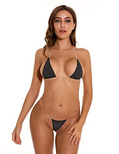 Oneheekini Women Sexy See Through Mini Micro Bra Sheer Bikini G String Bottom Set Black