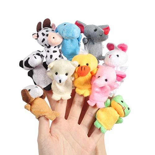 Chilits 10 marionetas de dedo de dibujos animados animales de peluche, marionetas de mano de animales para fiestas de cumpleaños infantiles, rellenos de huevos de Pascua, regalos para invitados