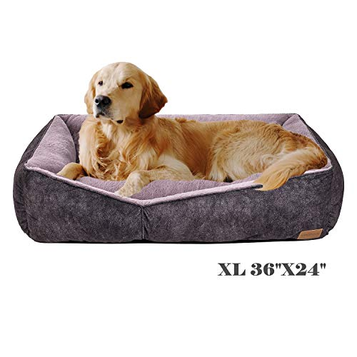 Coohom Rectangle Washable Dog Bed,Warming Comfortable Square Pet Bed Simple Design Style,Durable Dog Crate Bed for Medium Large Dogs (36 INCH, Black) Beds