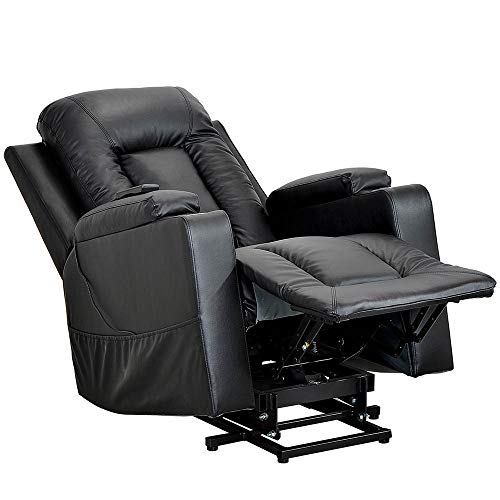 Electric Power Lift Recliner Chair Sofa, Padded Seat PU Leather Living Room Sofa Recliner for Elderly Modern Recliner Seat Club Chair, Side Pockets and 2 Cup Holders, Remote control,Black【UK STOCK】