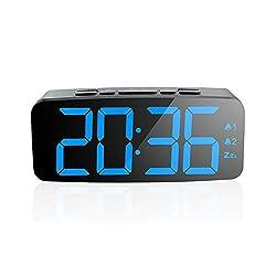 PINGKO Digital Alarm Clock-Large Smart LED Display, Snooze Function,Adjustable Brightness -Small and Light for Travel,Desk or Bedroom