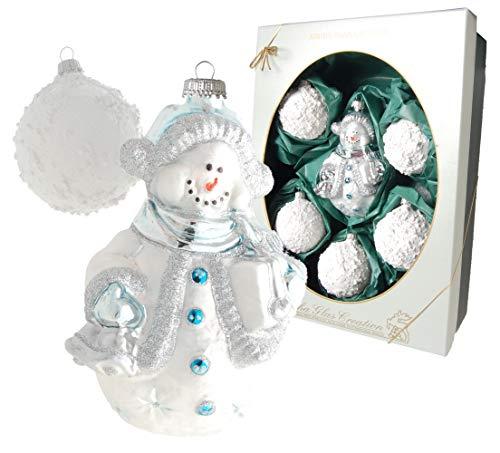 Cancro Vetro Lauscha – Decorazioni per albero di Natale in vetro – Pupazzo di neve con 5 palline di neve – 6 – 13 cm – 6 pezzi – Made in Germany