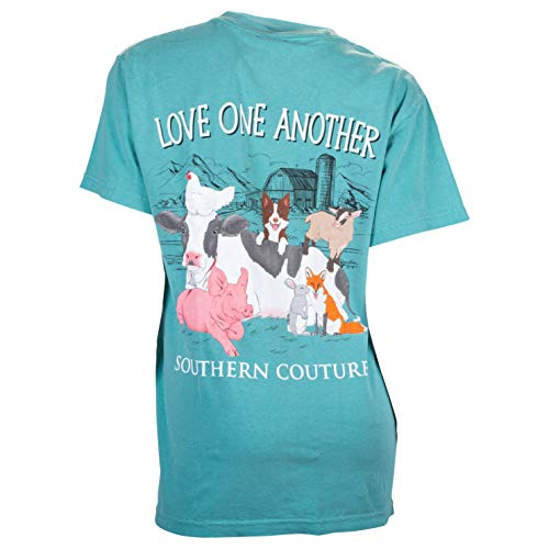 Southern Couture Comfort Fit Love One Another Adult T-Shirt Seafoam Small