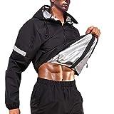 AGILONG Sauna Suit for Men Hot Sweat Sauna Jacket Pant with Hood Gym Workout Sweat Suits (Black, XL)