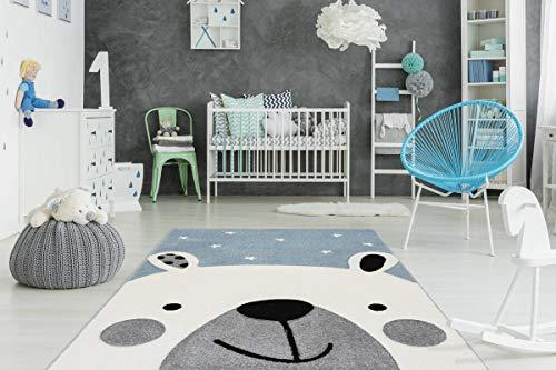 One Couture Kinderteppich Eisbär Design Teppich Bär Motiv 3D Effekt Blau Weiß Wohnzimmerteppich Esszimmerteppich Teppichläufer Flur-Läufer, Größe:120cm x 170cm