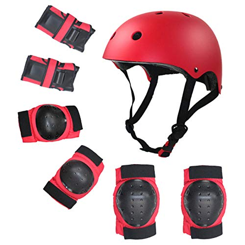 Grist CC Kinder Protektorenset 7PCS Knieschoner Ellenbogenschoner Handgelenkschutz Helm Schutzset für Hoverboard,S