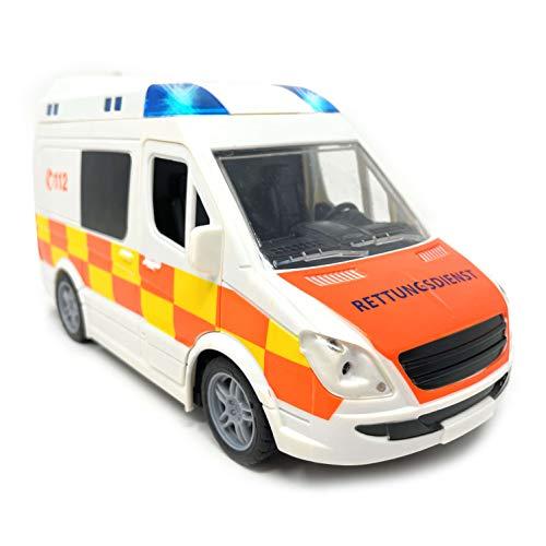 Spielzeug Krankenwagen mit Licht und Sound - Rettungswagen mit Sirene und Blaulicht | RTW Auto mit Friktionsantrieb und Vier Geräuschen | Rettungswagen Spielzeugauto Ambulanz für Kinder (RTW)