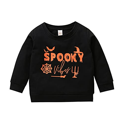 Sudadera de manga larga para niños pequeños y niñas, ropa de Halloween, Spook Black, 18-24 meses