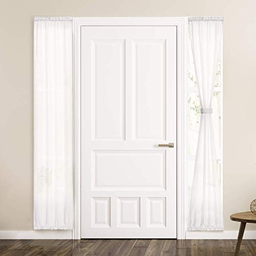 Melodieux White Semi Sheer French Door Sidelight Curtains 72 Inches Long, Linen Look Front Door Voile Drapes Patio Sliding Glass Door, 25 by 72 Inch, 2 Panels