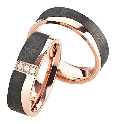 Eheringe / Trauringe / Verlobungsringe / Partnerringe aus Titan Carbon mit DIAMANT und Gravur
