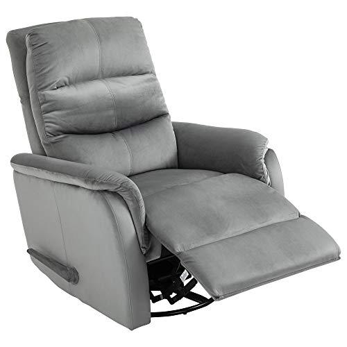 homcom Poltrona Relax Moderna in Tessuto Grigio, Schienale Reclinabile 140°, Poggiapiedi Estraibile e Meccanismo Manuale, 80x102x100cm