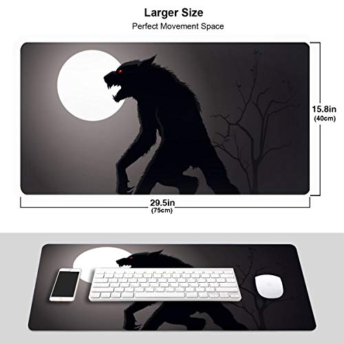 Lurking Werewolf Extended Gaming Mouse Pad with Stitched Edges, Long Mousepad (29.5x15.7In), Desk Pad Keyboard Mat, Non-Slip Base, Water-Resistant, for Work & Gaming, Office & Home