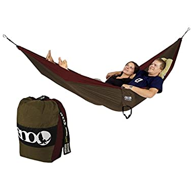 Eagles Nest Outfitters ENO Double Deluxe Hammock, Khaki/Maroon
