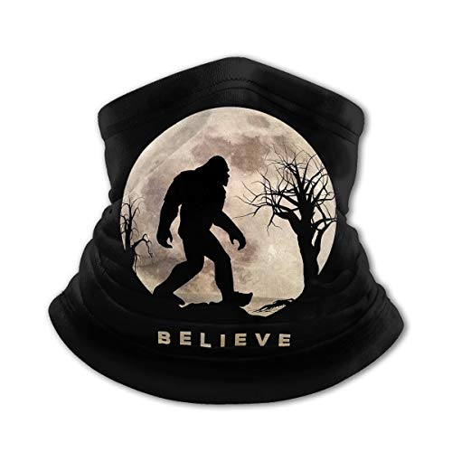 Kid Summer Face Mask,Bandanas,UV Protection Neck Gaiter Face Scarf Face Mask 12+ Ways to Wears,Boy and Girl,Fishing,Outdoor Sports,Easy to Clean,14inX8in Funny Bigfoot Sasquatch Full Moon