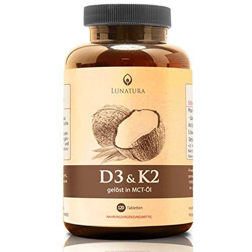 Lunatura Vitamin D3 + K2 MK7 Depot Kapseln - Premium: 99+% 200µg All-Trans Menaquinon + 5.000 IE Vitamin D3 - Alle 5 Tage eine Tablette - Hochdosiert, Tabletten hergestellt in Deutschland