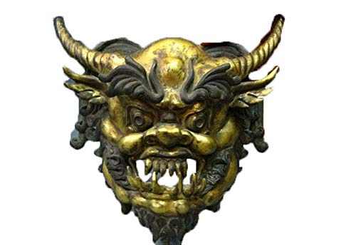 FTFTO Equipo de Vida Estatua de len de Bronce Coleccionable Tbet Cobre Puro Bronce Dorado Oro Toro Demonio Rey mscara Estatua de Buda