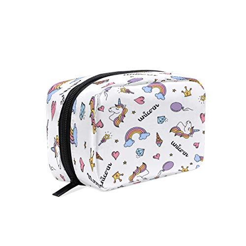 Bolsa de maquillaje BKEOY con diseño de unicornio y arcoíris