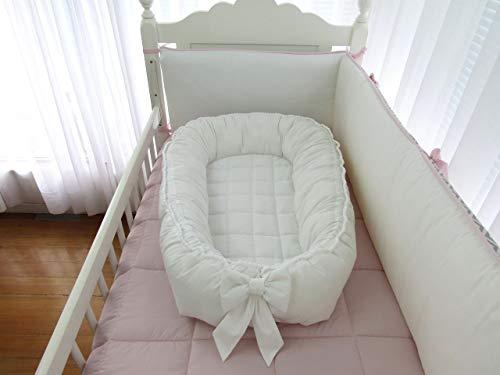 Ninho redutor de berço de bebê branco percal