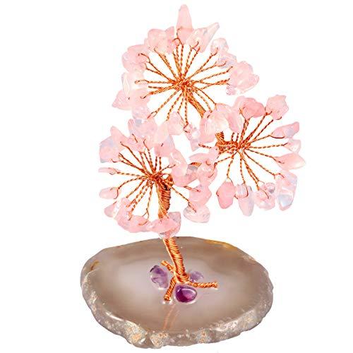 """mookaitedecor - Árbol de piedra natural con base de ágata, dinero bonsái, decoración para riqueza, suerte y salud, Base de cuarzo rosa / Ágata, Rosa., 3.1""""-3.9"""