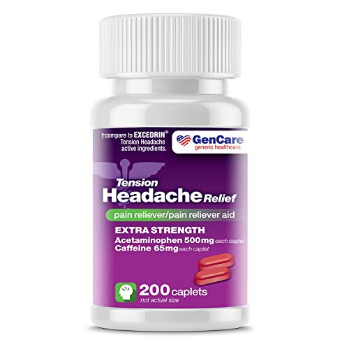 GenCare - Tension Headache Relief Pain Reliever with Acetaminophen 500 mg and Caffeine 65 mg (200 Caplets) Value Pack   Extra Strength for Head and Body Aches   Generic Excedrin Tension Headache
