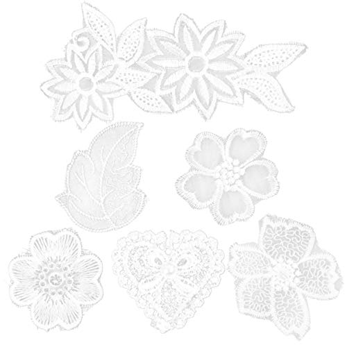 ARTIBETTER 6pcs Iron On Flower Patches Embroidered Lace Flower Patches Sew On Floral Appliques for DIY Clothing Sewing - Random Style