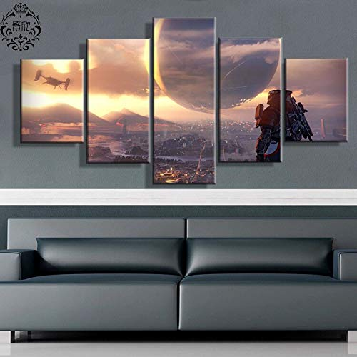 5 Stücke Spiel Poster Destiny Scenic Wandkunst Malerei Leinwand Gedruckt Bilder Wohnkultur Für Wohnzimmer Modulare Moderne Kunstwerk(NO Frame size 3)