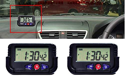 ERH India (2 Pcs) Smart Battery Operated Mini Digital LED Car Dashboard Office Desk Alarm Clock with Date and Time for Table Desk Vehicle Alarm Clock with Calendar Timer, Stopwatch and Flexible Stand