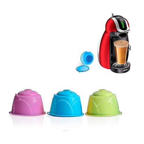 3 PCS Capsula di Caffè Riutilizzabile Colorata, ABEDOE Cialde per Tazze Caffè Compatibili con Filtro Caffè Ricaricabile per DOLCE GUSTO