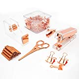 Gutyble Rosegold Office Supplies Set,Package Contains Stapler,Tape Dispenser,Staple Remover,Scissors,Binder Clips,Paper Clips,Push Pins and 1000pcs Staples.Acrylic Office Desk Accessories Kits