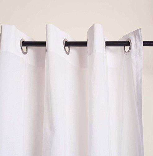 VLiving Rideau en voile de coton blanc (132 x 160 cm)