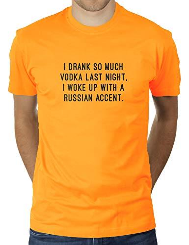 KaterLikoli I Drank So Much Vodka Last Night I Woke Up with A Russian Accent - Camiseta para hombre oro amarillo XXL