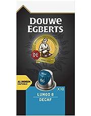 Douwe Egberts Koffiecups Lungo Decaf (100 Capsules, Geschikt voor Nespresso* Koffiemachines, Intensiteit 06/12, Cafeïnevrije Koffie, UTZ Gecertificeerd), 10 x 10 Cups
