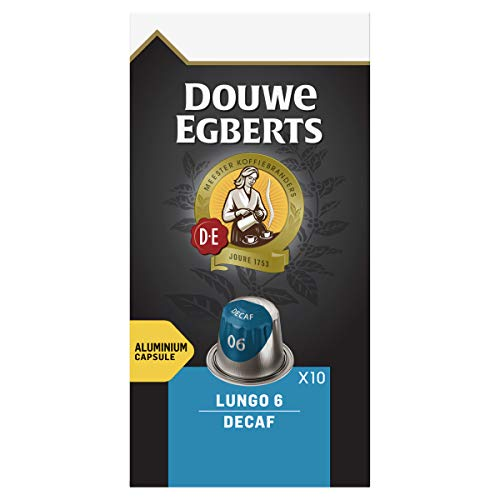 Douwe Egberts Lungo Decaf Cafeïnevrije Koffiecups, 10 x 10 Cups