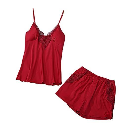 DNOQN Frauen V-Ausschnitt Wimper Seide Spitze Sexy Beflecken Leibchen Pyjama Bowknot Shorts Set