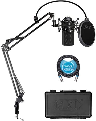 MXL 990 Cardioid Condenser Microphone for Vocals and Acoustic Guitar Recording Black Bundle product image