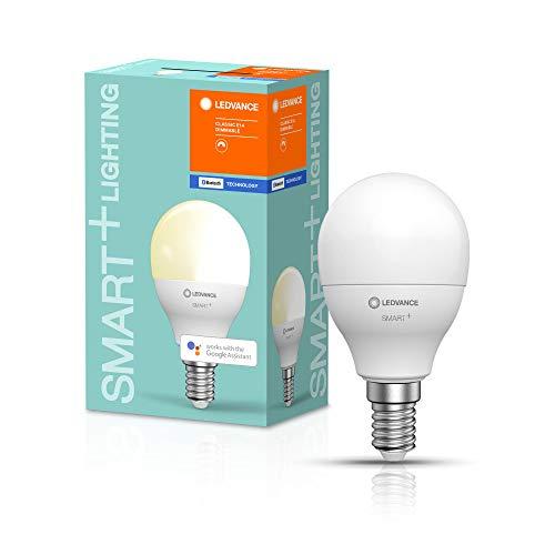 LEDVANCE Lámpara Smart LED con Bluetooth, E14, blanco cálido (2700K), reemplaza las lámparas incandescentes con 40W, controlable con Alexa, Google y Apple Voice, bombilla SMART+ Mini DIM,paquete de 1