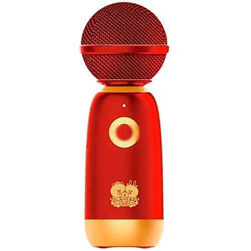 Micrófono Altavoz De Audio Micrófono De Mano Portátil Integrado Micrófono De Karaoke Inalámbrico Bluetooth Micrófono De Máquina De Canto De Fiesta Familiar Utilizado (Color : Red, Size : Small)